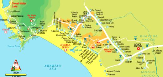 Арамболь на карте Гоа. Карта пляжа Арамболь.